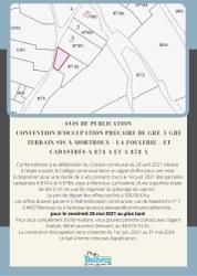 Avis de publication - Convention d'occupation précaire de gré à gré Terrain sis à Mortroux – La Foulerie – et cadastrés A 874 A et A 878 A