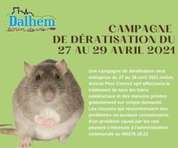 Campagne de dératisation du 27 au 29.04.2021