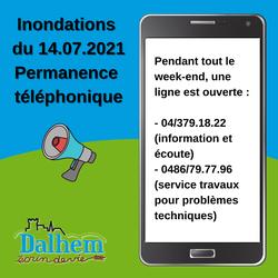 Inondations du 14.07.2021 - Permanence téléphonique