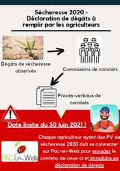 RAPPEL - Encodage des procès-verbaux de dégâts agricoles pour la sécheresse 2020