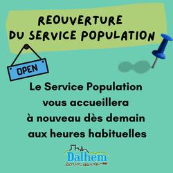 Réouverture du service Population